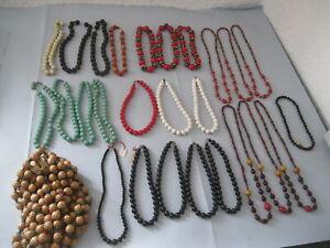 Angemessen Posten Vintage Modeschmuck 36 Ketten Holzperlen Kunststoff Perlen Auflös.