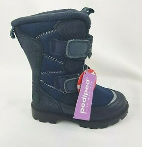 Pediped Kids Size US 7.5 - 8 EUR 24 Cold Weather Snow Boots Navy Blue Calf High