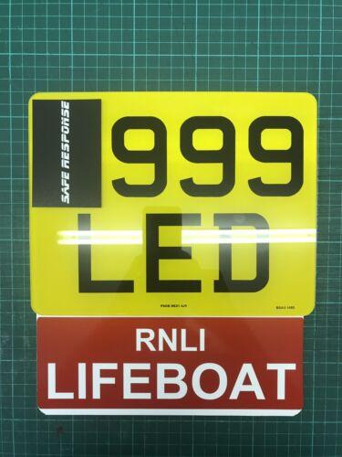 Número de motocicleta llamada RNLI bote salvavidas de placa de extensión de conciencia signo de rescate