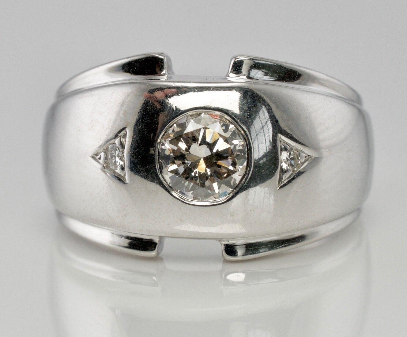 Diamond Men Ring .62cttw 14K White gold Vintage