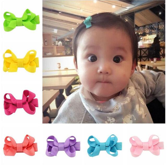 be48034167d65 10Pcs Baby Girl Kids Hair Bow Clips Headwear Grosgrain Ribbon Bowknot  Barrettes