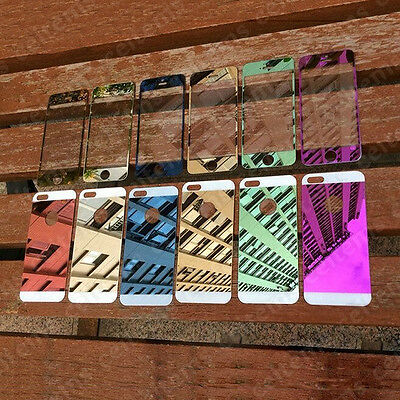 Mirror Effect Tempered Glass Front + Back Screen Protector Film for iPhone 5 5S