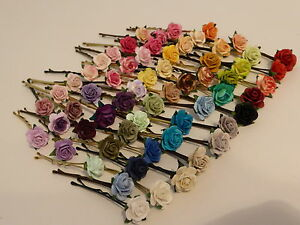 6-ROSE-GRIPS-30-colours-hair-accessories-wedding-kirby-flower