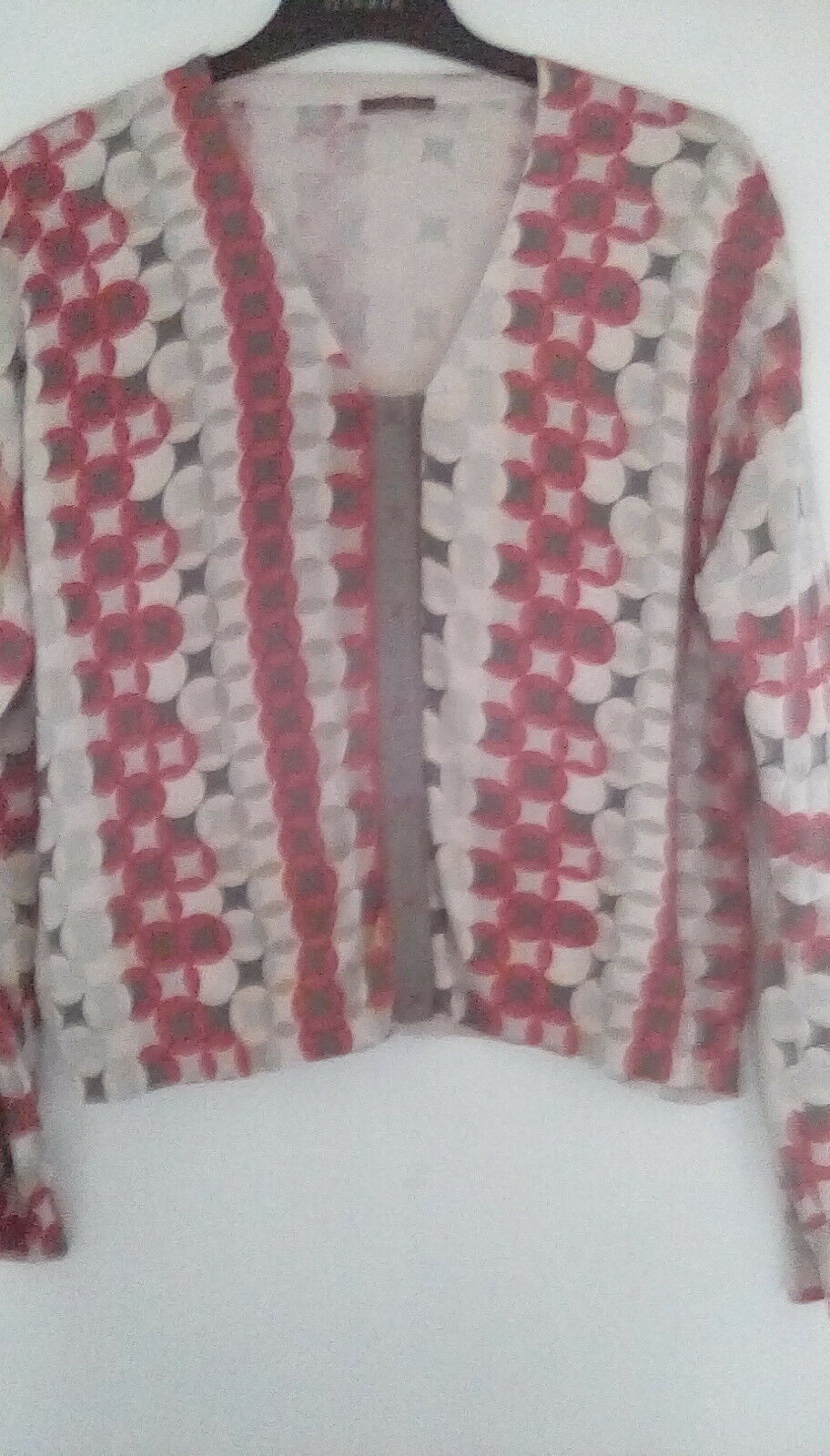 Silk Cotton wrap patterned Pale gold Cardigan sz22. Rare and Beautiful  Flawed.