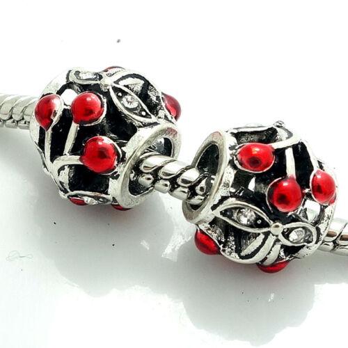 2pcs Argent European Charm Beads Fit 925 Collier Bracelet Chaîne SQ398