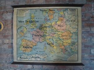 Vintage-Old-Roll-up-linen-Spanish-Europe-Europa-Map-French-made-Post-WW1-pre-WW2