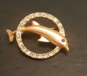 Stunning Gold Tone And Crystal Dolphin Brooch