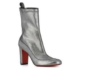 buy online ef5fd ed124 Details about Christian Louboutin GENA Boots Silver Stretch Leather Ankle  Booties Shoes 37