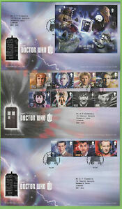 Graham-Brown-2013-Dr-Who-Conjunto-amp-m-s-First-Day-Covers-en-tres-tallents-House