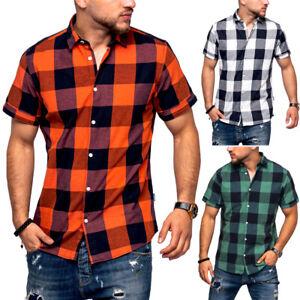 JACK-amp-JONES-Herren-Hemd-Kurzarm-Poloshirt-Freizeithemd-T-Shirt-Karohemd-Kariert