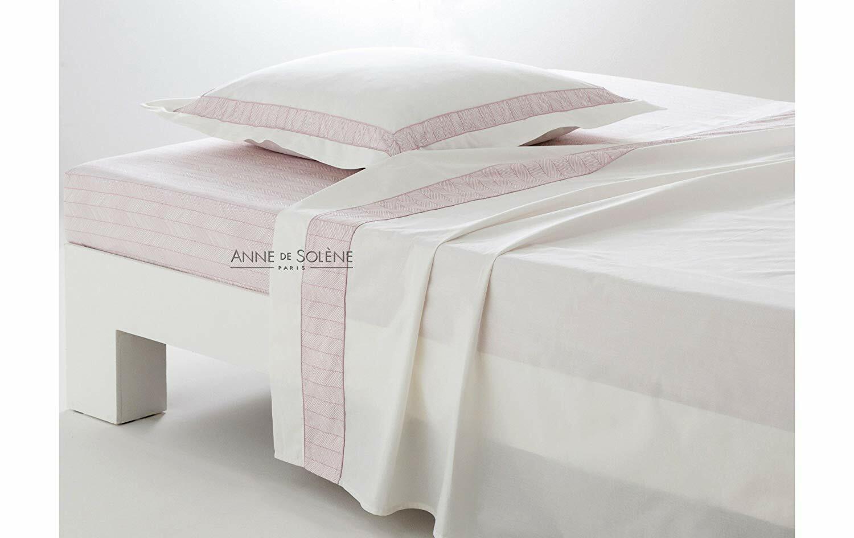 Anne de Solene of Paris Pivoines pink King Flat Sheet 100% Long Staple Comb Cott