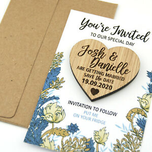 Save-The-Date-Card-Magnets-Personalised-Wooden-Oak-Heart-Wedding-Invitations