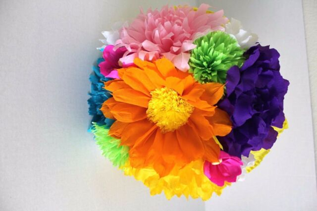Large Bouquet Mexican Crepe Paper Flowers Multicolor Bride I Special Order