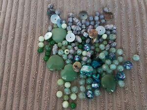 1-Job-Lot-Glass-Beads-Blue-Green