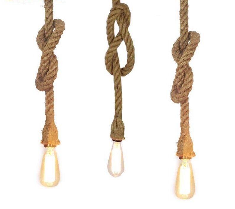 Retro Vintage Rope Pendant Light Lamp Loft Creative Living Room Industrial Bulbs