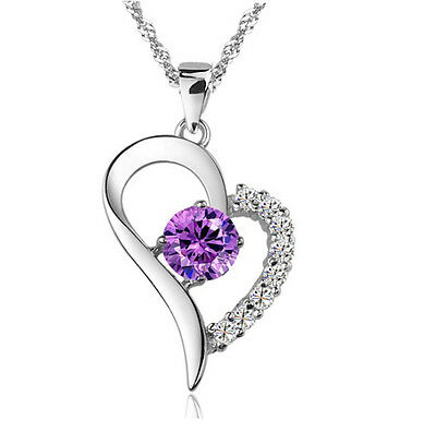 """18"""" 925 Sterling Silver Amethyst Crystal Heart Pendant Necklace Chain Love P7"""