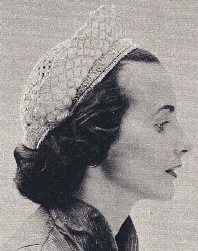 Vintage Crochet PATTERN Braided Halo Hat Crown Cap 50s
