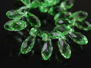 20pcs-16X8mm-Teardrop-Faceted-Crystal-Glass-Pendant-Loose-Beads-Light-Green-New