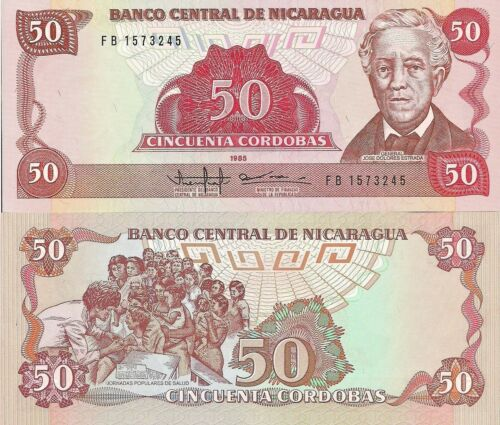 President Estrada // public health scene Nicaragua P153 50 Cordoba UNC
