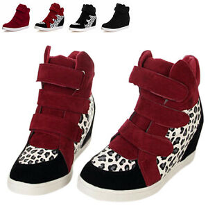 accfb4dad447 Fashion Girl s Sneakers High Top Hidden Wedge Heel Leisure Shoes ...