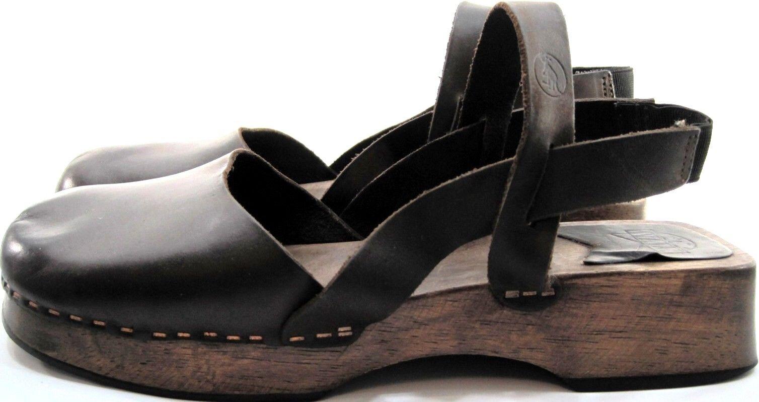 Walk Damens Leder Sandales Braun Größe 6.5 Euro 37 Braun Sandales Wood Rubber Soles 1a75eb