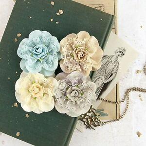 Venice-HE-LOVES-ME-Paper-n-Lace-x-4-Flowers-PRIMA-Approx-60-65mm-Tans-Cream-Teal