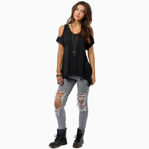 Women/'s Summer Cold Shoulder Loose Top Short Sleeve Blouse Casual Tops T-Shirt