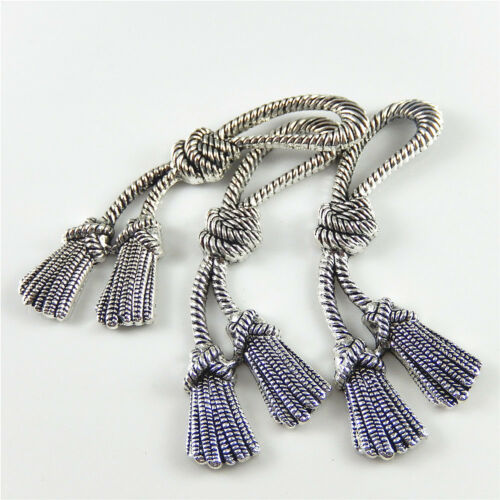 Antiqued Silver Metal Knotted Rope Shaped Jewelry Crafts Charms Pendants 5pcs