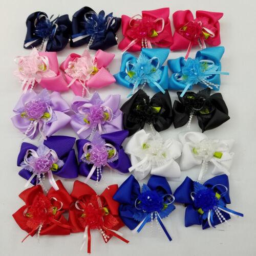 """Girls Alligator Clip Grosgrain Ribbon Bows 1 Pair. 3/"""" Boutique Hair Bows"""