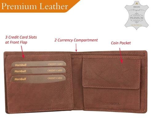 HORNBULL Combo of Men/'s Leather Wallet and Belt skilled handcraft Black// Brown
