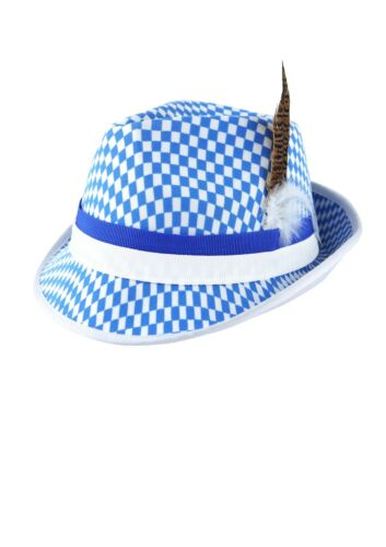 Fancy Dress Blue//White Checked Hat w//Feather Bavarian Oktoberfest H20491 6//12//18