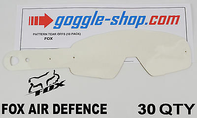 30 qty GOGGLE-SHOP MOTOCROSS TEAR OFFS to fit FOX AIR DEFENCE GOGGLES flippers