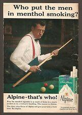 1961 ALPINE CIGARETTE AD~BILLIARDS POOL PLAYER~SUSPENDERS~MENTHOL TOBACCO SMOKES