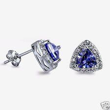 USA Seller Triangle Stud Earrings Sterling Silver 925 Best Jewelry Tanzanite CZ