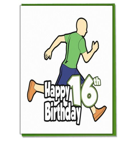 Running Runner 16th Carte d/'anniversaire-ado garçons son petit-fils ami Mate