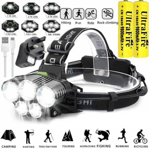 350000LM T6 LED Headlamp Headlight Head Torch Rechargeable Flashlight Work Light