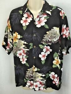 MENS-ALOHA-HUT-HAWAIIAN-CAMP-SHIRT-SIZE-M-BLACK-FLORAL