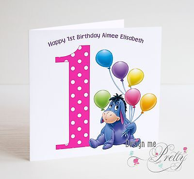 PERSONALISED EEYORE Birthday Card WINNIE THE POOH Child/'s 1 2 3 4 5 6 7 8