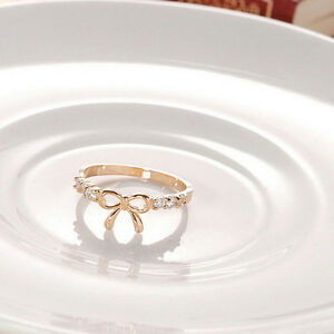 Image Is Loading Delicate Ring Bow Rhinestone 2 Colour Gold Silver