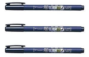 Tombow Fudenosuke Brush Pens, 3 Pens (Hard tip, Black Ink, WS-BH)