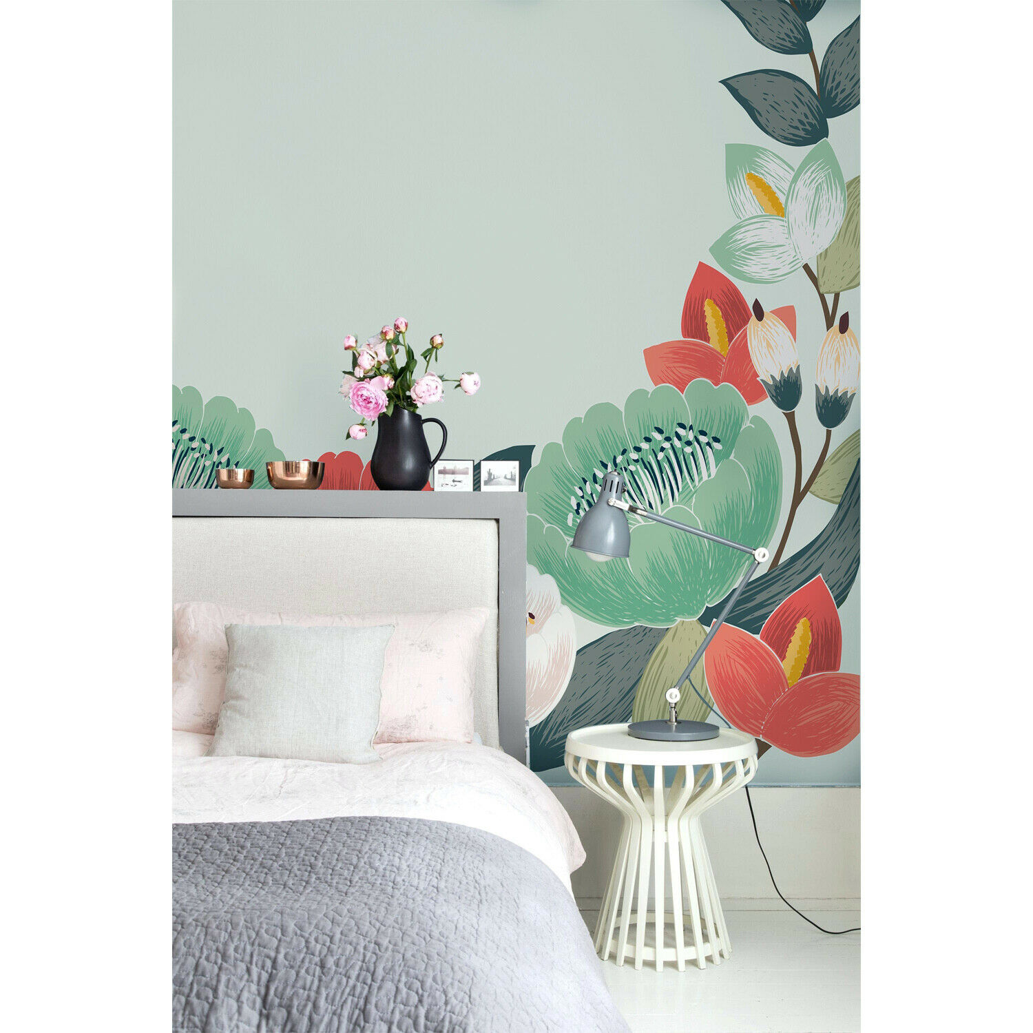 Floral spring flowers Removable wallpaper Grün and rot wall mural