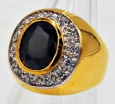 Item 1 Men Ring Black Onyx Cz 18k 24k Yellow Gold Filled Gp Solitaire Estate New Size 9