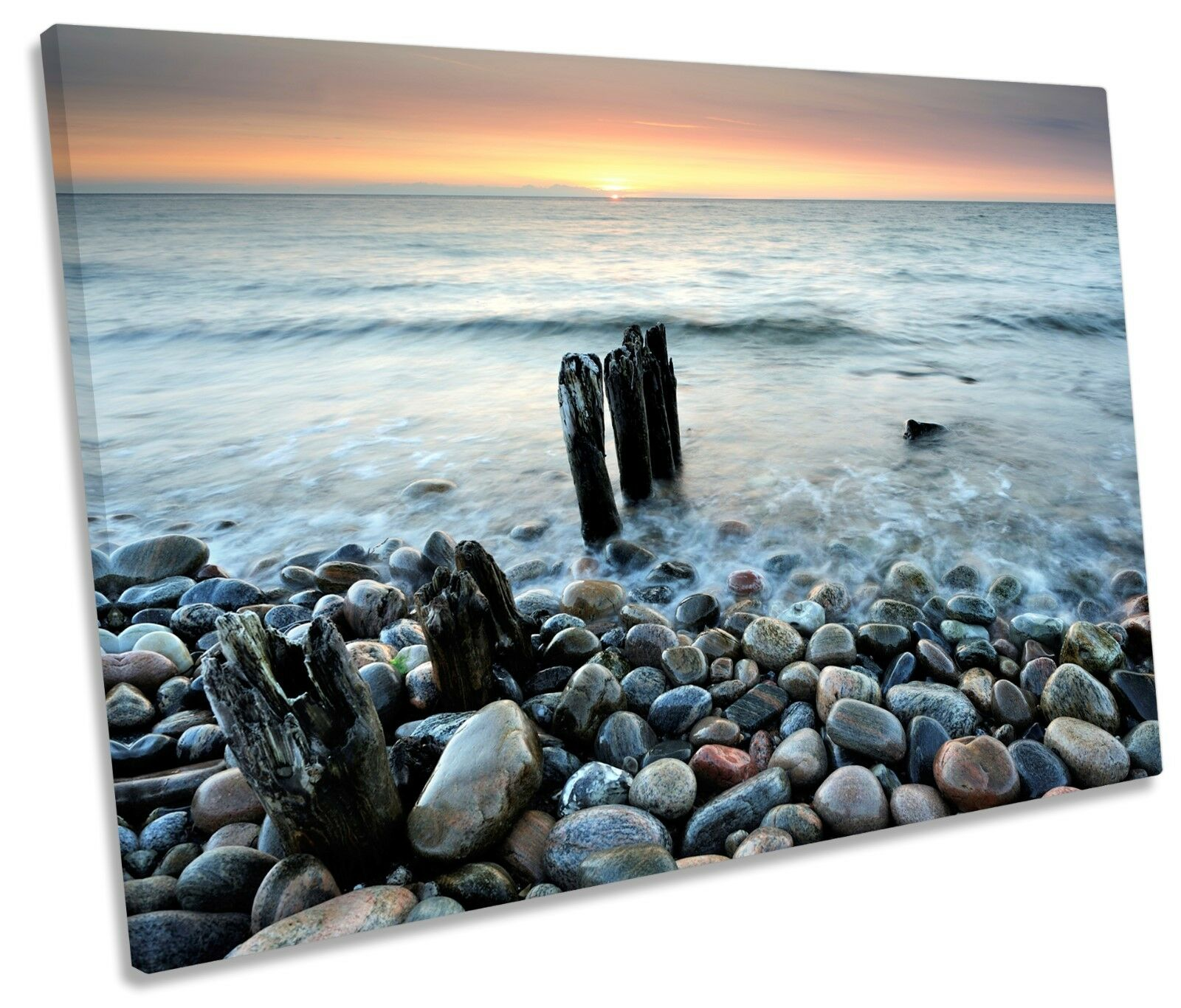 Sunset Pebble Beach Seascape SINGLE CANVAS Wand Kunst Box Framed