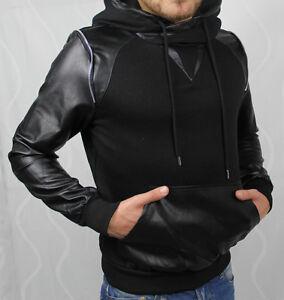 11048-Sweatshirt-Pullover-Schwarz-Weiss-Kapuzenpullover-Sweat-Pulli-Kunstleder