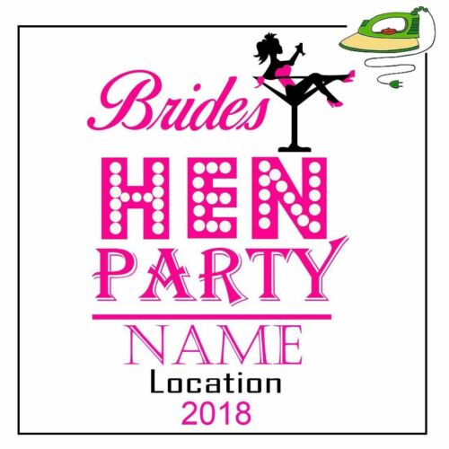 Name Brides Team Bride Drinking Iron On Transfer T Shirt Hen Party Personalised
