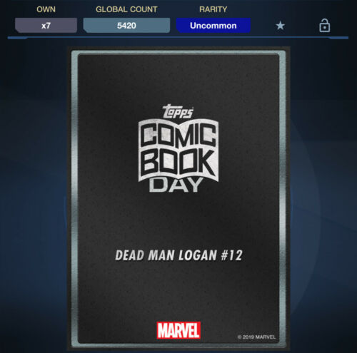 Topps Marvel Collect *Digital DEAD MAN LOGAN #12 Silver Comic Book Day