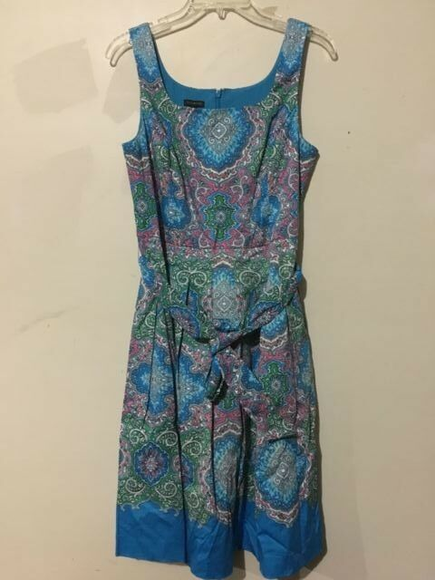 Talbots Turquoise Floral Größe 6 damen Dress 98%Cotton Lined Belted Stylish ID34