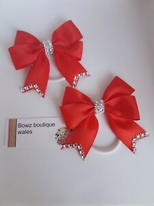 Girls Little Pony Large Bow Bobbles Sold In Pairs Handmade