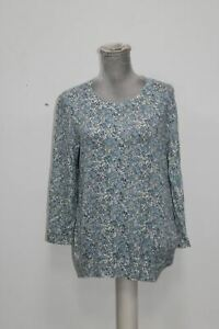 Ralph-Lauren-Womens-New-Blue-Floral-Crew-Neck-Long-Sleeve-Casual-Top-Large