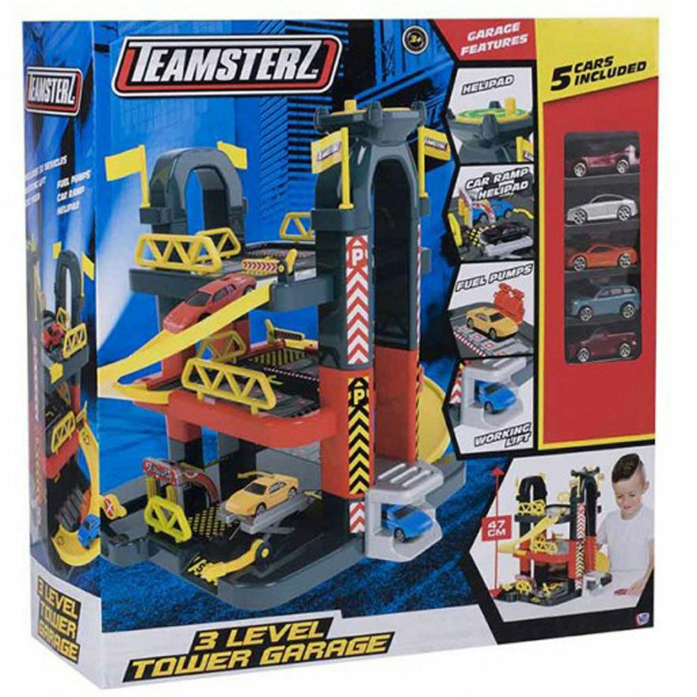 Teamsterz 3 Level City Car Park & Drive Garage Kid Playset With 5 Diecast Cars